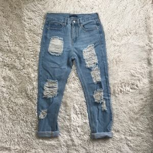 Brandy Melville high rise distressed blue jeans